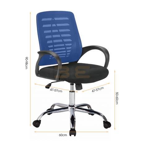 Hình kích thước Ghế lưới IB503 chân thép mạ màu xanh