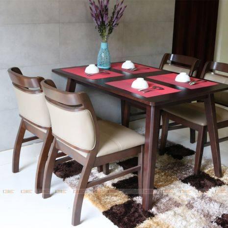 Bộ bàn ăn 4 ghế Dotori màu walnut