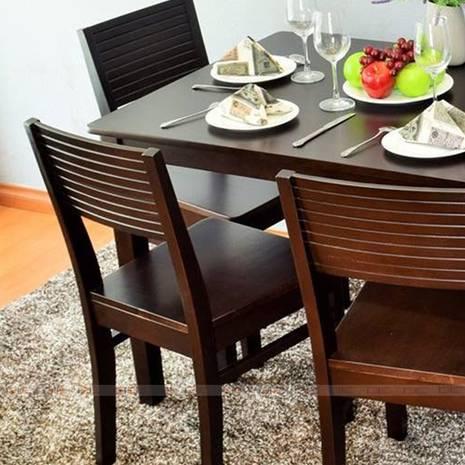 Bộ bàn ăn 4 ghế Gumi màu walnut