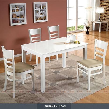 Bộ bàn ăn 4 ghế Ulsan màu trắng
