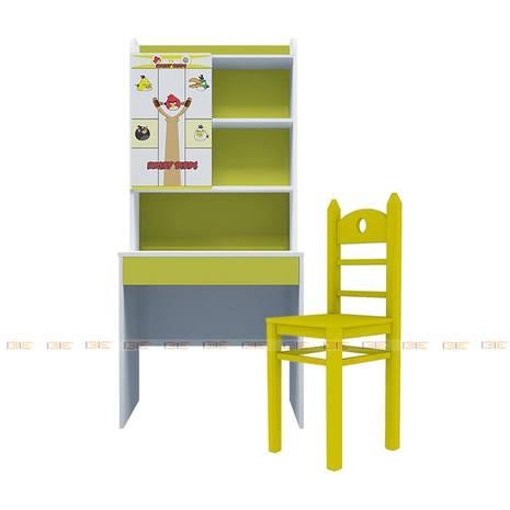Bộ bàn học có giá sách hình Angry Bird 80cm màu vàng