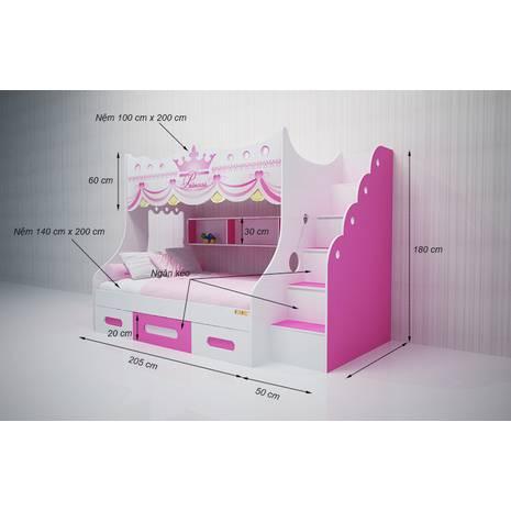 Giường tầng cao hình Công chúa 1m2