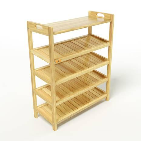 Kệ dép 5 tầng ván IV573 gỗ cao su màu tự nhiên