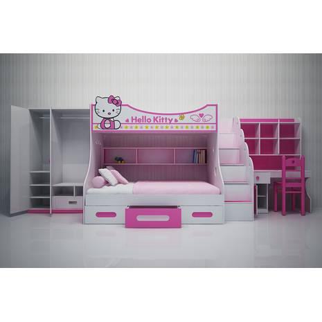 Bộ phòng ngủ giường tầng trẻ em hình Kitty