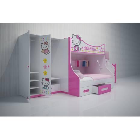 Bộ phòng ngủ giường tầng đẹp in hình Kitty
