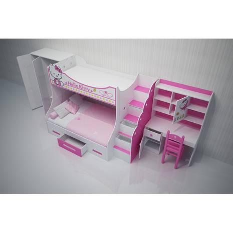 Bộ phòng ngủ giường tầng Kitty cho bé gái