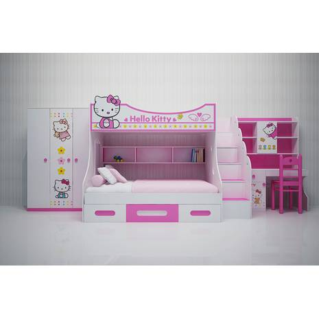 Bộ phòng ngủ cho bé gái giường tầng trẻ em Kitty