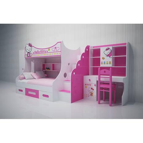 Bộ phòng ngủ giường ngủ trẻ em 2 tầng hình Kitty