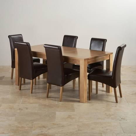 Bộ bàn ăn Oakdale gỗ sồi 6 ghế da