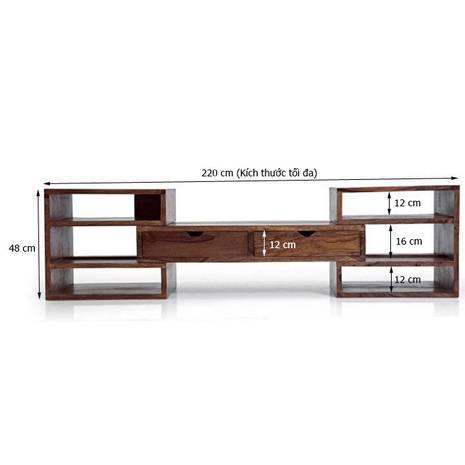 Kích thước trong Tủ kệ tivi Hyogo gỗ tự nhiên