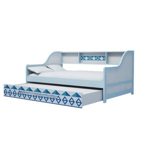 Giường tầng lùn trẻ em in hoa văn xanh 2