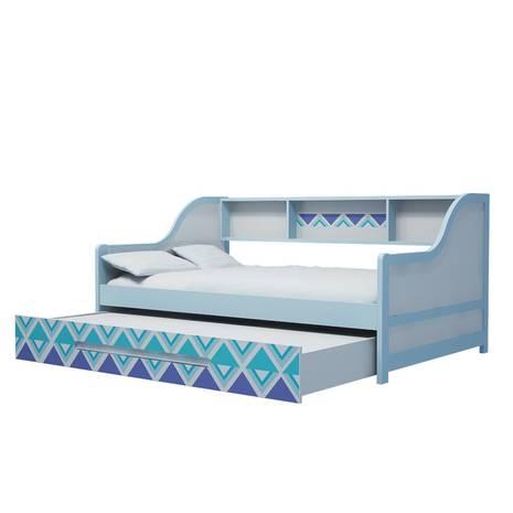 Giường tầng lùn trẻ em in hoa văn xanh 3