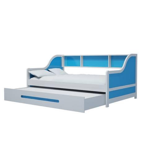 Giường tầng lùn gỗ tự nhiên màu xanh đậm