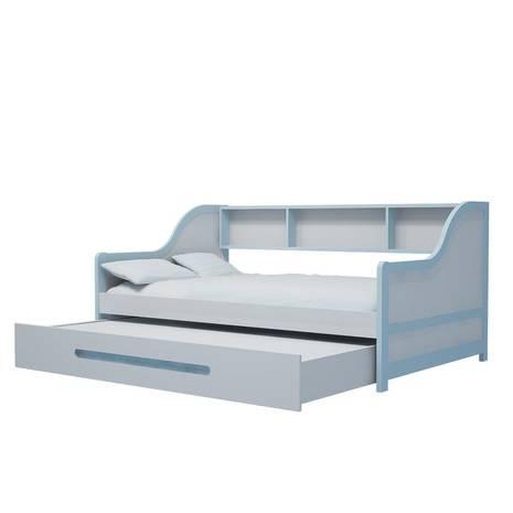 Giường tầng lùn gỗ tự nhiên màu xanh nhạt