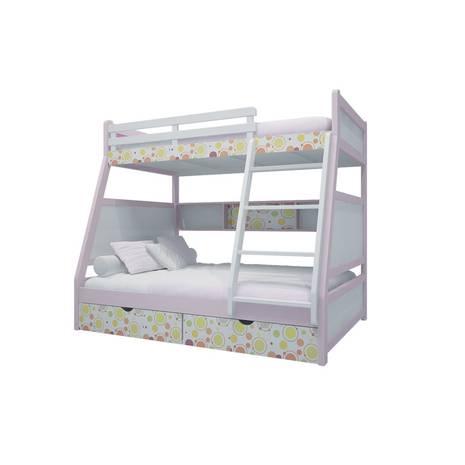 Giường tầng trẻ em thang giữa màu in hoa văn 1