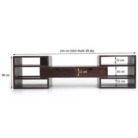 Kích thước trong Kệ tivi Hyogo gỗ nâu gụ