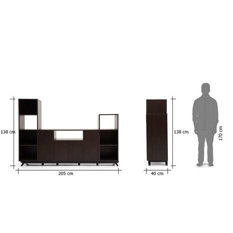 Kích thước ngoài Tủ kệ tivi Veneto cao kèm kệ hông cao và trung