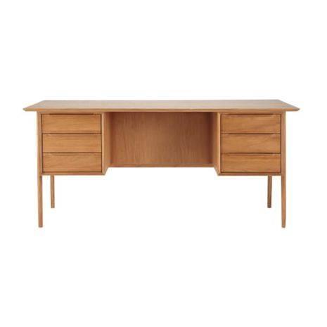 Bàn làm việc 6 ngăn Portobello phong cách Vintage gỗ tự nhiên