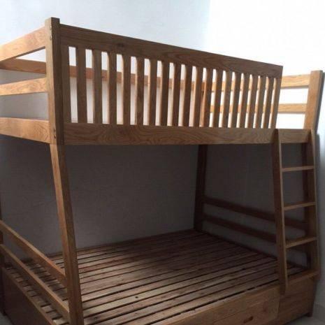 Giường tầng Rustic thang liền gỗ sồi 1