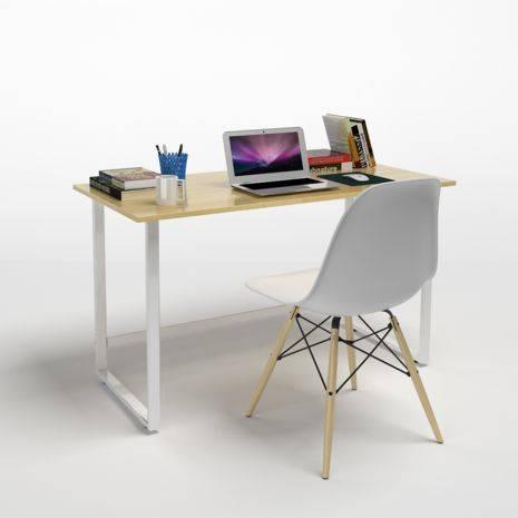 Bộ bàn ghế làm việc Rec-F trắng và ghế Eames chân gỗ trắng