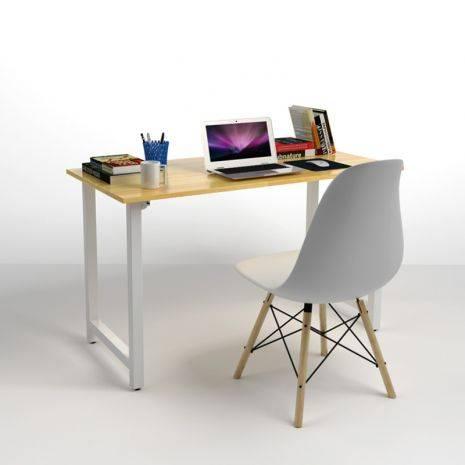 Bộ bàn ghế làm việc Rec-T trắng và ghế Eames chân gỗ trắng