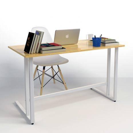 Bộ bàn ghế làm việc Rec-U trắng và ghế Eames chân gỗ trắng