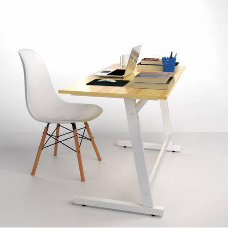 Bộ bàn ghế làm việc Rec-Z trắng và ghế Eames chân gỗ đen